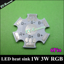 Wholesale 100pc LED aluminum PCB LED heat sink 6Pin Dia 20mm PCB borad  for 1W 3W RGB beads high quality LED heat sink freeshipp
