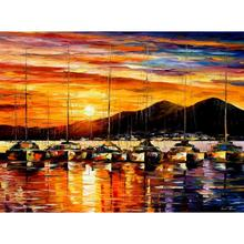 Landscape Modern paintings with Palette knife art oil on Canvas italy, naples harbor vesuvius Handmade high quality