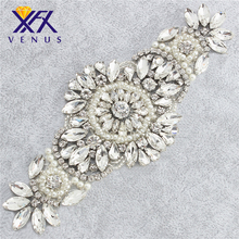 Wholesale hot fix iron on drass diamante beaded ivory beads clear rhinestone appliques for dress belt ,had ,sash and DIY