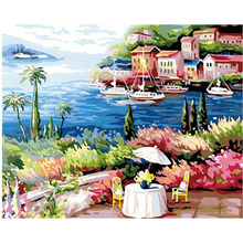 DIY Frameless Pictures Paint By Numbers Digital Oil Painting On Canvas handwork gift set seaside modular painting wall art 113