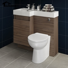 UK Shipping 3-906mm Modern Bathroom Walnut Bathroom Vanity Unit Countertop Basin&Back To Wall Toilet