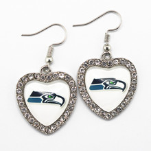 6pairs NFL Football Seattle Seahawks Team Sports Silver Heart Glass Long Earrings Charms For Women Crystal Earring Jewelry