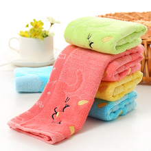 Cute carton printing and dyeing 25*25cm Bamboo Fiber Solid Color Non-twist Towels with Cats Patterns Style Towels
