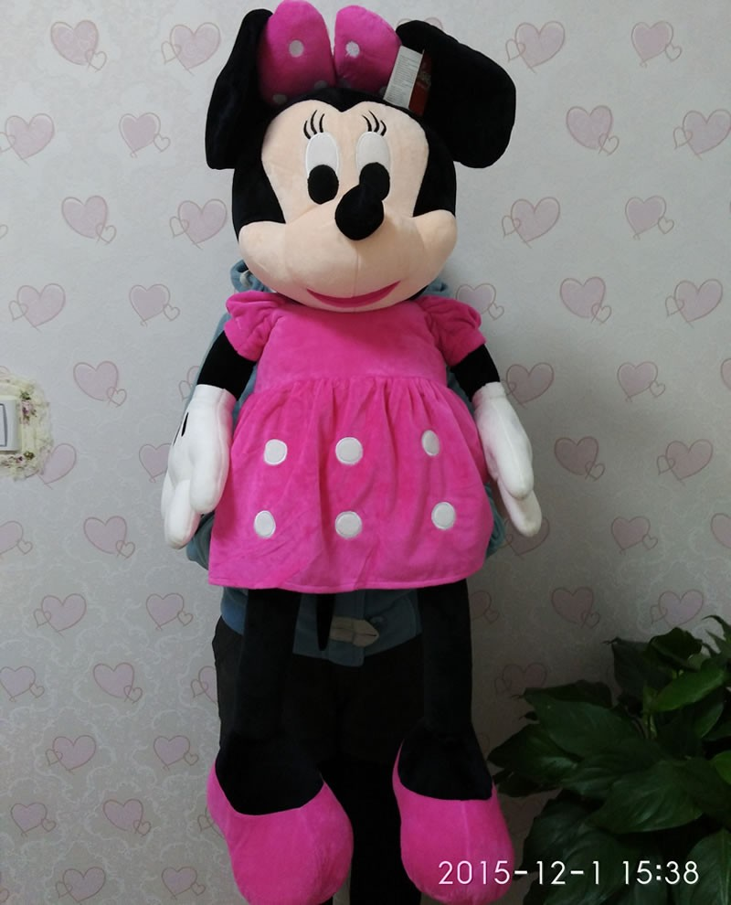 Free Shipping 100cm=39.3'' Large Minnie Mouse Stuffed Animal Toys,Giant Pink Minnie Mouse Soft Plush Toys For baby Gifts(China)