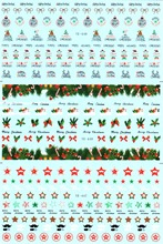 3 PACK/ LOT WATER TRANSFER DECAL NAIL ART NAIL STICKER MERRY CHRISTMAS XMAS STAR MUSTACHE BOW TIE BALL YE447-449
