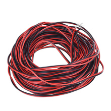 20 meters Electrical Wire Tinned Copper 2 Pin AWG 22 insulated PVC Extension LED Strip Cable Red Black Wire Electric Extend Cord(China)