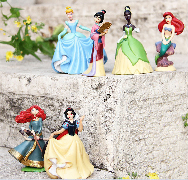 6pcs/lot Anime Cartoon Princess doll Snow White Ariel Cinderella Merida Tiana Hua Mu-Lan PVC action figure toy<br><br>Aliexpress