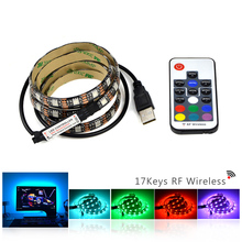 1M 2M 3M 4M 5M DC 5V RGB USB charger cable adapter 5050 SMD LED strip light tape + RF led remote controller for Background light