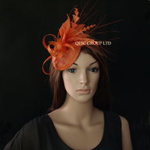 NEW 20 colours Rust brown sinamay feather fascinator .FREE SHIPPING.