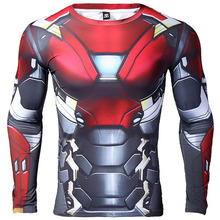 Iron man 3D Printed T shirts Men Compression Shirt 2017 Spiderman Cosplay Costume Long Sleeve Tops Male Crossfit Fitness Cloth