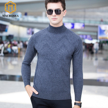 MACROSEA New Fashion Turtleneck Wool Men Casual Pullover Boutique Men Clothing Knitting Jacquard Argyle Sweater Wool Pull Homme(China)