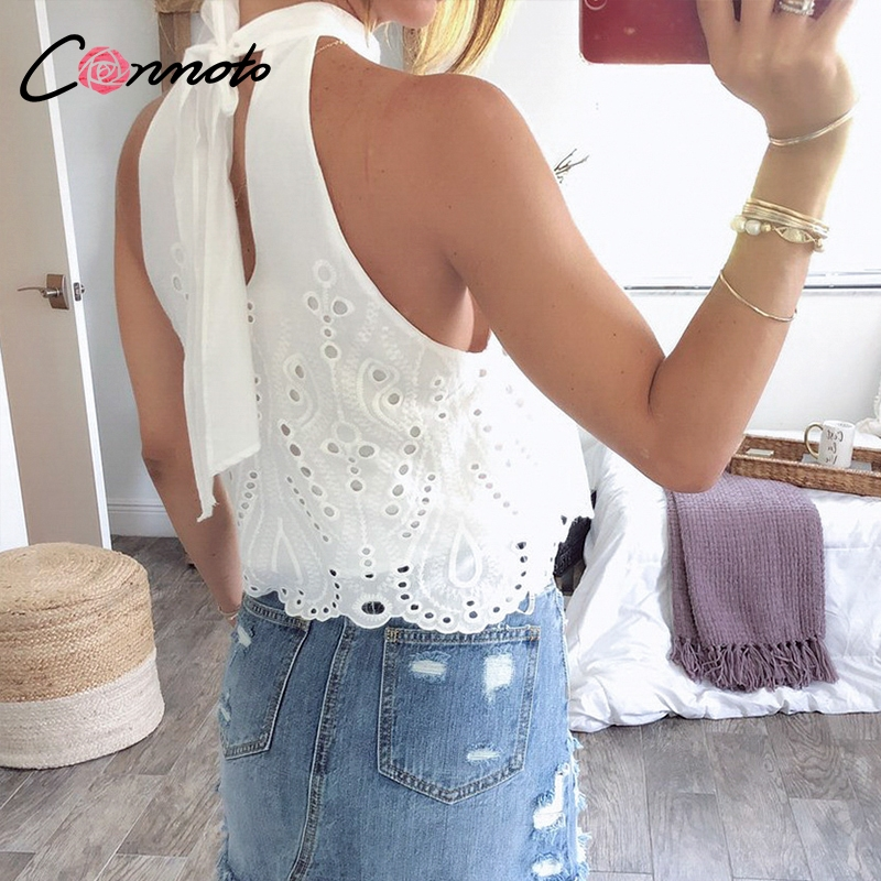 Conmoto White Embroidery Women Tops and Blouse 2019 Summer Off Shoulder Crop Female Lace up Hollow out Polka Dot Plus Size Shirt(China)