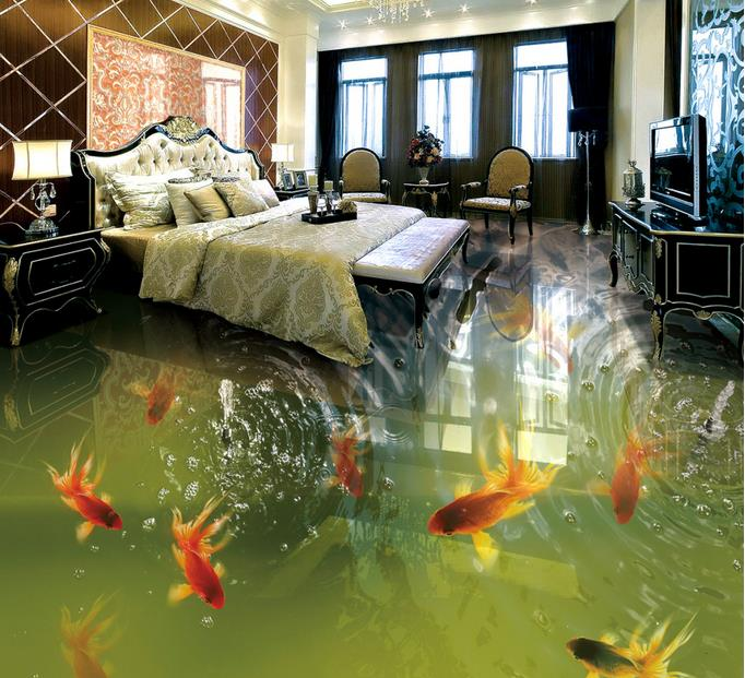 floor 3d wallpaper custom 3d murals Goldfish Hetang fish group 3d flooring photo wall murals self adhesive floor wallpaper<br><br>Aliexpress