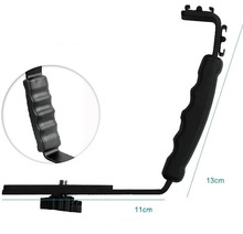 L Flash Bracket Mount 2 Hot Shoe For Camcorder Mic Microphone Video Light Camera(China)