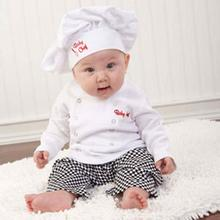 Cute Baby Infants Cook Chef Costume Infant Boys Girls Photo Prop Cosplay Party Outfits Tops Coat+Long Pants+Hat Clothes Set D40(China)