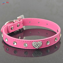 (50 Pieces/Lot)New Fashion Bling Rhinestone Crystal Heart Studded Leather Adjustable Collar for Pets Dogs Cat(China)