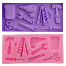 1 Pc Silicone Mould Scissor Button Sewing Designer Clothes Shape Cake Border Fondant Cake Decorating Tool(China)