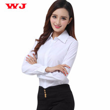 Brand New Fashion White Blouse Shirt Women Work Wear Long Sleeve Blusas Tops Slim Ladies Office Blouses Shirts