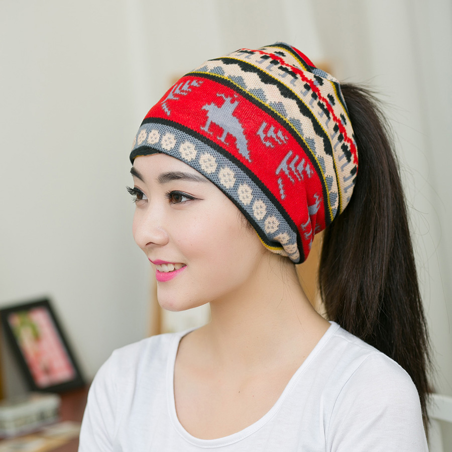 Women S Fashion Hats Whole Latest Trend Red White Snowflake Bow Headband