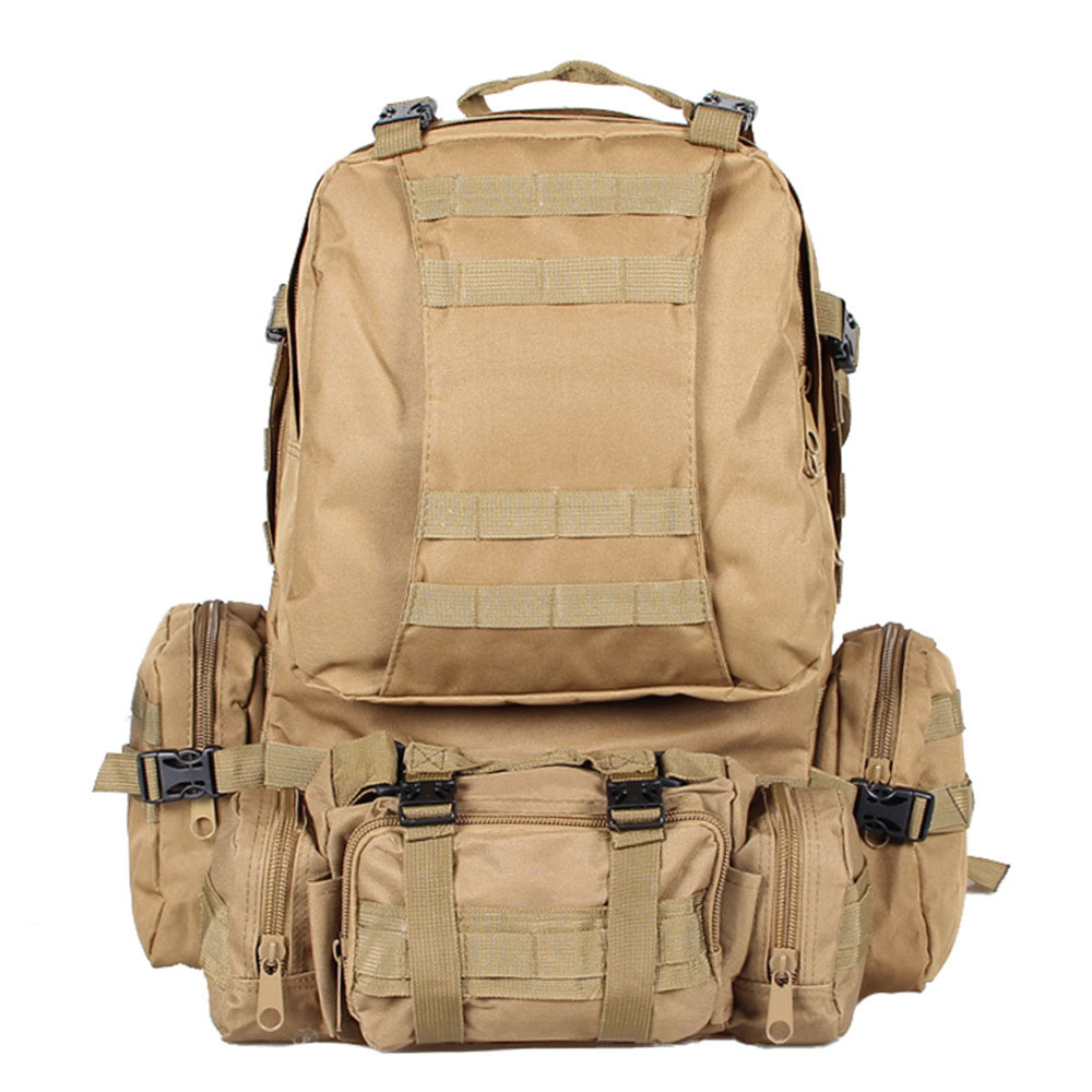50L Large Capacity Tactical Military Outdoor Rucksacks Backpack Trekking Hiking Bag Mud color<br>