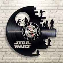 Star Wars Death Star Darth Vader Princess Leia Master Ioda Movie Characters Vinyl Record Design Wall Clock - Decorate your home