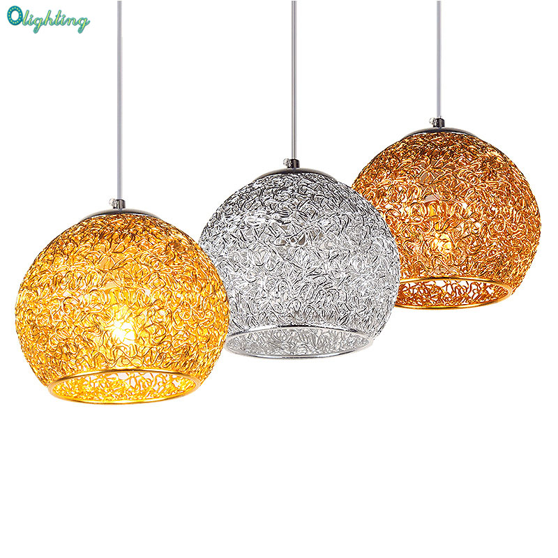 Olighting LED suspension silver ball pendant lamp indoor lighting aluminum round pendant light for dining room<br>