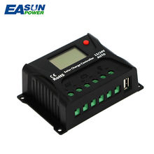 EASUN POWER Solar Charge Controller 10A PWM Solar Charge Controller LCD USB 5V Solar Regulator 12V 24V Voltage Regulator(China)