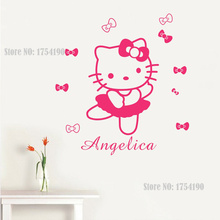 HELLO KITTY Personalized Name Flowers or Ties Vinyl Wall Decals Art adesivo de parede Princess Wall Stickers Girl Bedroom Decor(China)