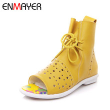 ENMAYER New Open Toe Flats Ankle Boots Summer Boots Women Lace-up Ankle Cut-outs Platform Boots Women Shoes Big Size 34-40