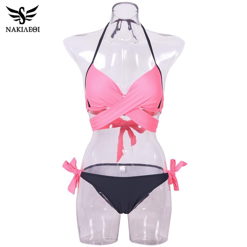 NAKIAEOI 19 Sexy Bikini Women Swimsuit Push Up Swimwear Criss Cross Bandage Halter Bikini Set Beach Bathing Suit Swim Wear XXL 75