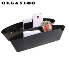 1PCS black color multifunctional plastic box  long storage box between vehicle seat trash debris office desk organizer container