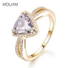MOLIAM Fashion Trendy Jewelry Women Ring Light Blue/White Cubic Zircon Triangle Crystal Stone Finger Rings Bagues MLR386/MLR387(China)