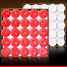 50pcs /box Smokeless candle tea put the circular paraffin candles red purple white pink blue candles tea wax 7g(China)