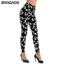 Womens New Fashion Sanding Milk Silk Printed Letters Flowers Leggings Elastic Pencil Pants Sexy Leggings Thin Trousers For Women
