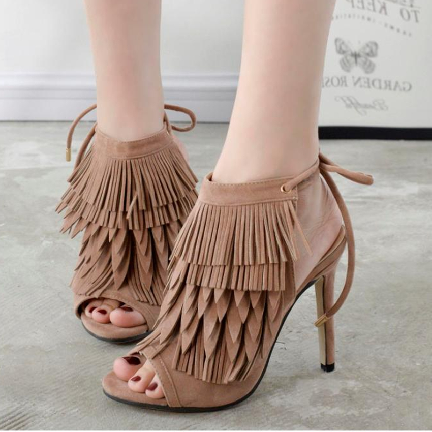 2017New Super Star Gladiator High Heels Sandals Women Fringe Lace-up  Ankle open toe Shoes Woman Open Toe Sandals<br><br>Aliexpress