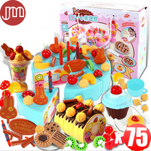 OHMETOY 75 PCS Kitchen Toys Pretend Play DIY Cakes Fruits Pink Blue with Box Educational Learning Happy Birthday Party Tracking(China)