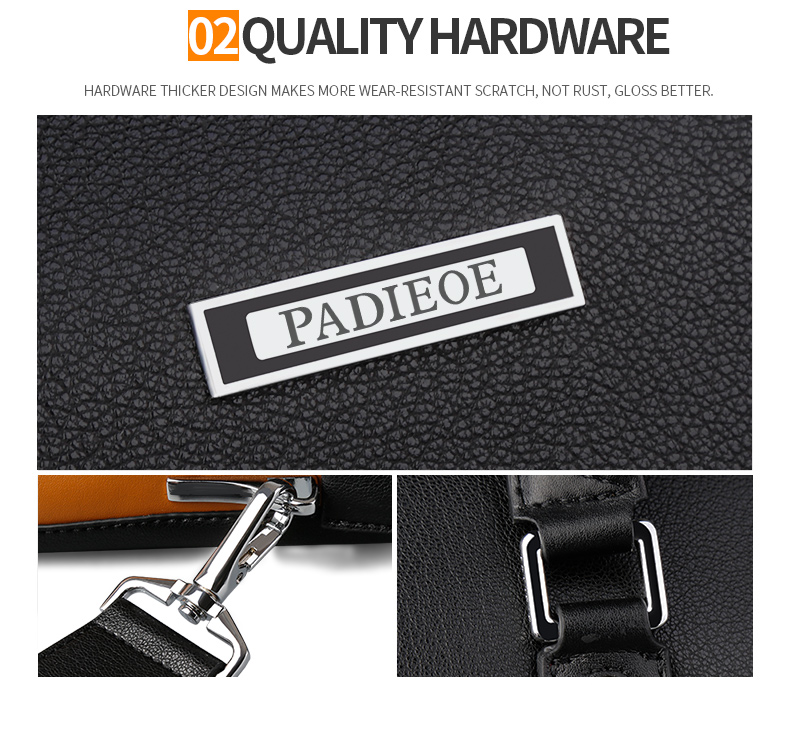 Padieoe Fashion Men Briefcase 14 Inches Laptop Bag Famous Brand Men's Shoulder Bag Documents Totes Bag Male Casual Portfolio