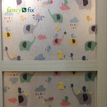 Fancy-Fix Cartoon Decorative Film for Children room Kindergarten,Frosted Self Adhesive Glass Film,Static Cling Glass Stickers