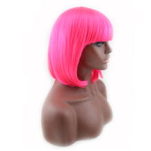 Women's Wig Short Bob Straight Wigs Heat Resistant High Quality Imported Synthetic Hot Pink Cosplay Hair Wig With Bangs Peruca