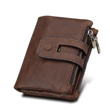 Hot!! Genuine Leather Men Wallet Small Men Wallets Double Zipper&Hasp Male Portomonee Short Coin Purse Carteira For Rfid Pocket
