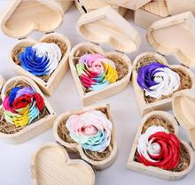 "1set 2.5""  Multicolor Rose Flower Soap With Heart Wood Box For Wedding Party Birthday Souvenirs Gifts Favor Home Decoration"