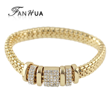 FANHUA  Steampunk Style Gold-Color Bangles Rhinestone Chain Strand  Bracelet for Women Costume Jewelry