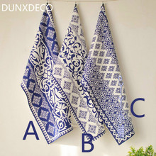 DUNXDECO Table Placemat Cotton Tea Towel Napkin Modern China Blue White Porcelain Print Plate Dinner Desk Accessories Decor