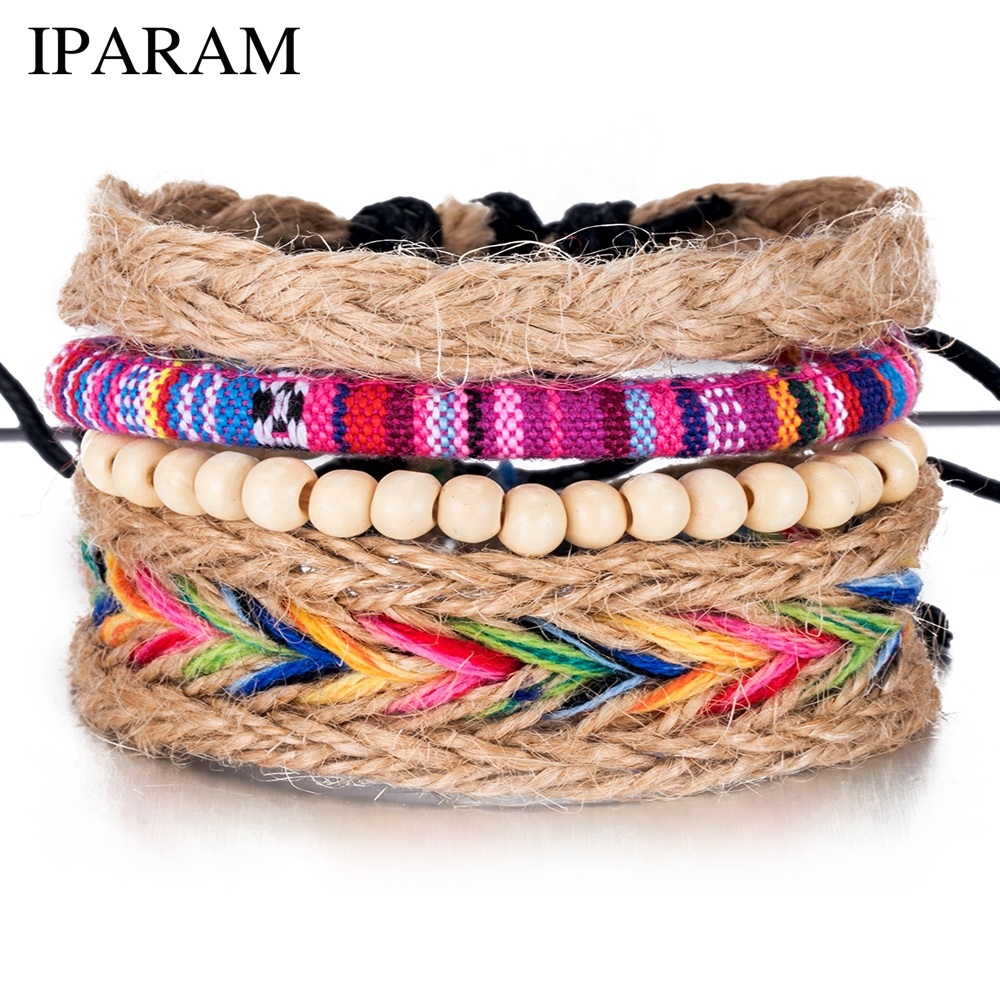 IPARAM 4PCS / Set color ethnic handmade hemp woven bracelet hippie Bohemian embroidery cotton friendship bracelet 5