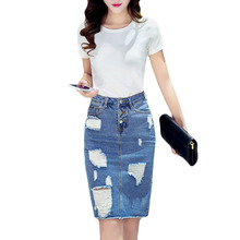 Fashion New Women Summer Denim Skirts Knee-Length Back Split Skirt Stylish Broken Hole Casual Skirt Ladies OL Skirts