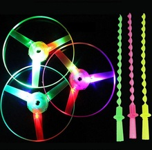 10pcs/set Large Amazing LED Light Arrow Rocket Helicopter rotating Flying Toy Party Fun Gift, toys sprots