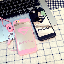 For iphone 5 5s se 7 7plus 6 6plus 6s plus 5s Lover case Cell Phone Mirror Cases Superman Soft Silicone Frame Phone Cover Capa(China)