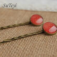 SUTEYI Red Dots Tone Cabochon Glass hairpins for girls Simple Antique Bronze Bobby Pins Clips for small children christmas
