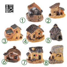 Resin House Model Forest Cottages Terrarium Figurines Fairy Mini Garden Decoration Micro Landscape Miniatures(China)