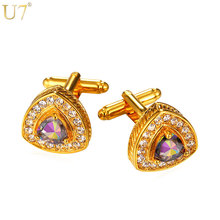 U7 New Crystal Heart Cufflinks For Men Jewelry Trendy Suit Accessories Gold Color Cubic Zirconia Cuff Link & Free Gift Box C006(China)